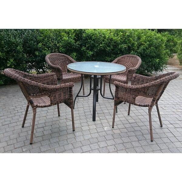 BROTHER兄弟牌90cm鋁合金編藤圓桌+夏綠蒂扶手椅一桌四椅組家庭園休閒傢俱!