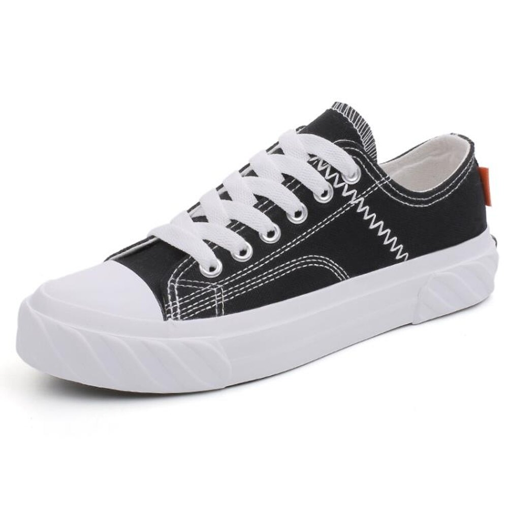 帆布鞋  ins超火黑色帆布鞋女新款韓版學生原宿ulzzang板鞋街拍小黑鞋 歐歐流行館