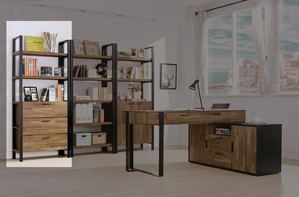 【尚品傢俱】HY-A509-01保羅集成木紋2.7尺三抽書櫃