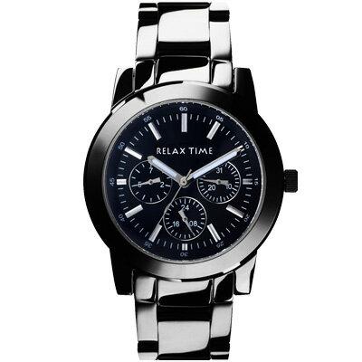 大高雄鐘錶城:RELAXTIME三眼黑x銀時尚腕錶(R0800-16-09)38mm
