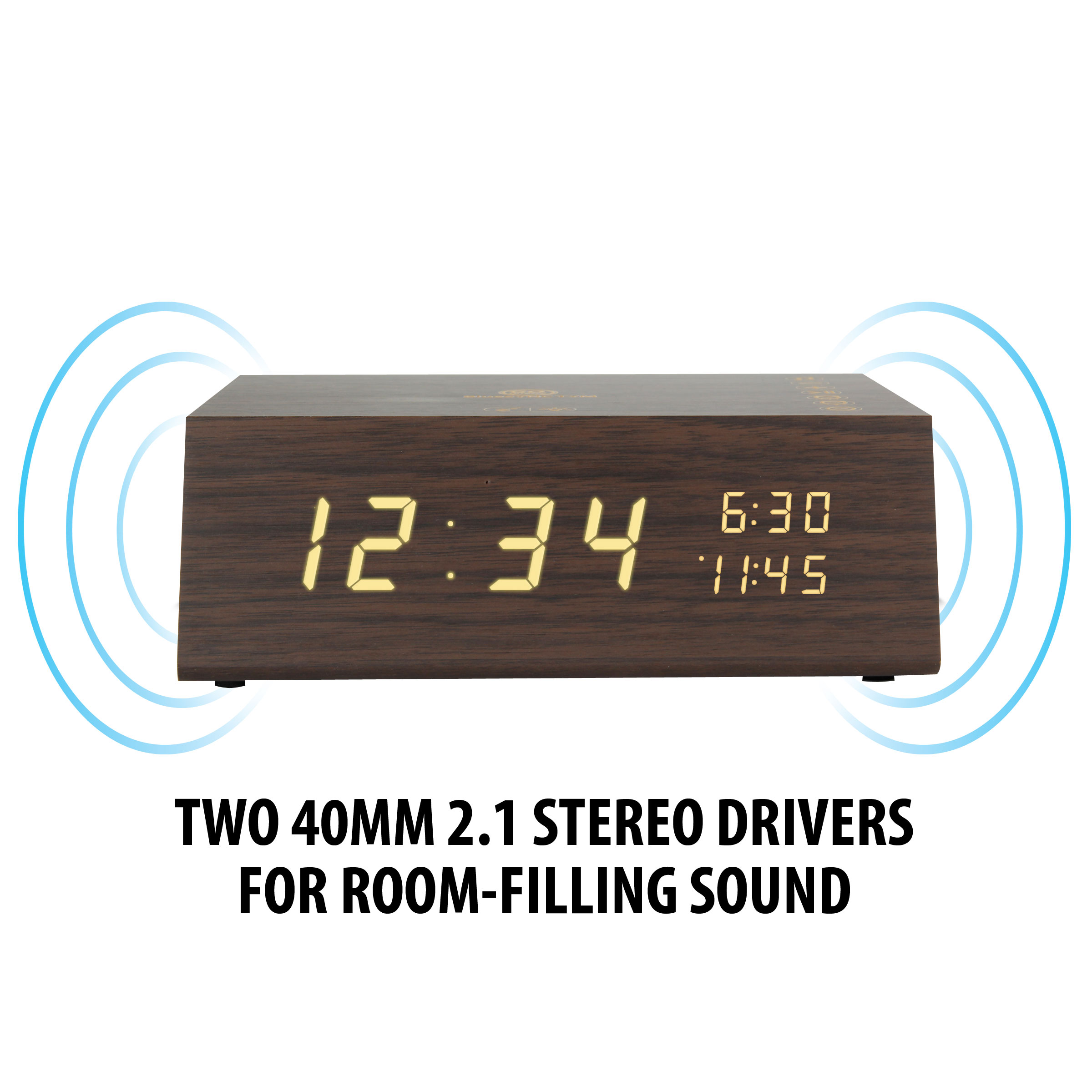 Bluetooth Alarm Clock Radio Speaker by GOgroove - Wood , FM Radio , Dual Alarms , USB Charging Ports 6