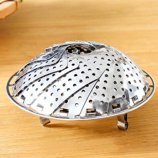 ♚MY COLOR♚蓮花型可收縮蒸籠盤(小) 可伸縮折疊 不銹鋼蒸盤 蒸籠 蒸格 蒸屜 蒸架 【E55】