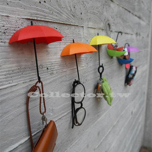 【F15100101】創意雨傘造型粘貼掛鉤 (三入裝) 彩色收納支架 牆壁裝飾品
