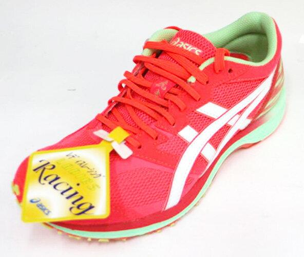23CM~ASICS 亞瑟士 LADY TARTHER 女 虎走 輕量 競速 路跑鞋 馬拉松鞋 TJR849-2001(橘/桃紅)[陽光樂活