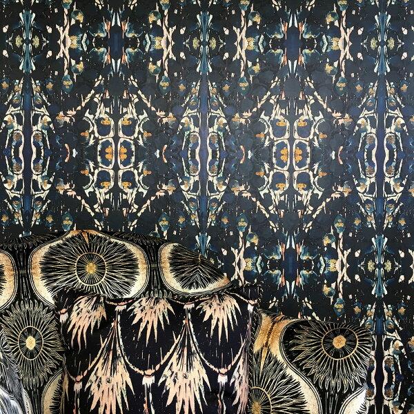 黑色大馬士革幾何形壁紙英國壁紙SIOUXSIE