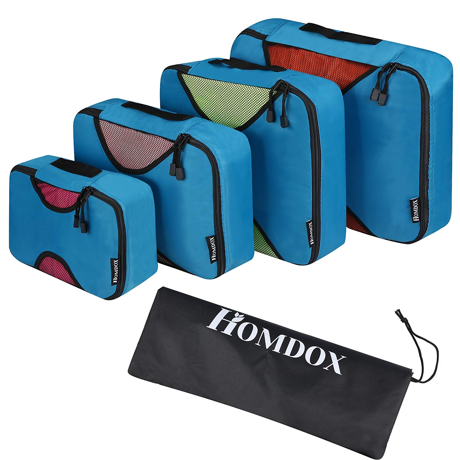 Homdox Packing Cubes - 4pc Set Travel Organizers with Laundry Bag, Camping Backpacking Organisers Luggage