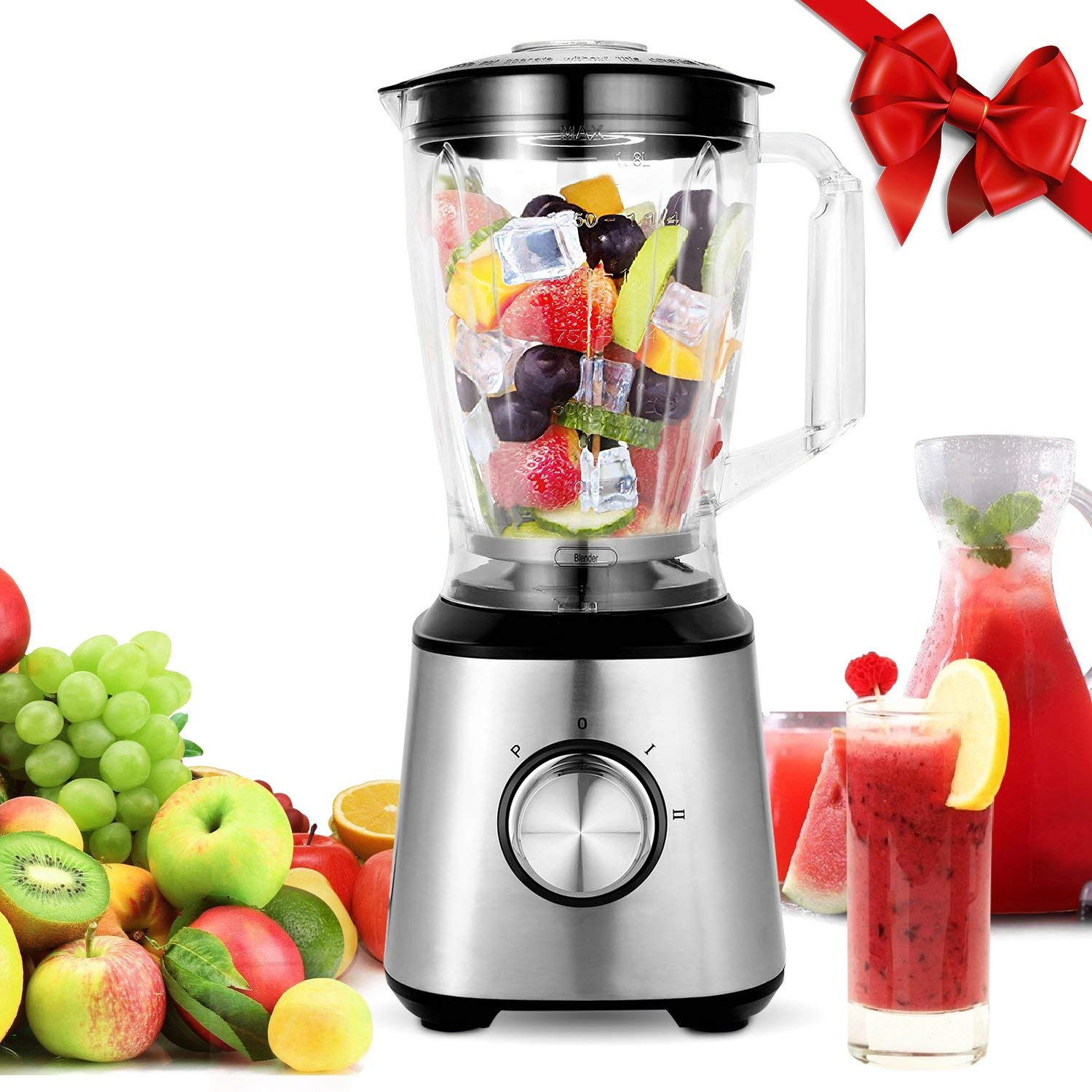 Meykey Smoothie Blenders, Countertop Blender 800W for Shakes and Smoothies  with BPA Free Blender Jar 2-Speed Control,1 5l