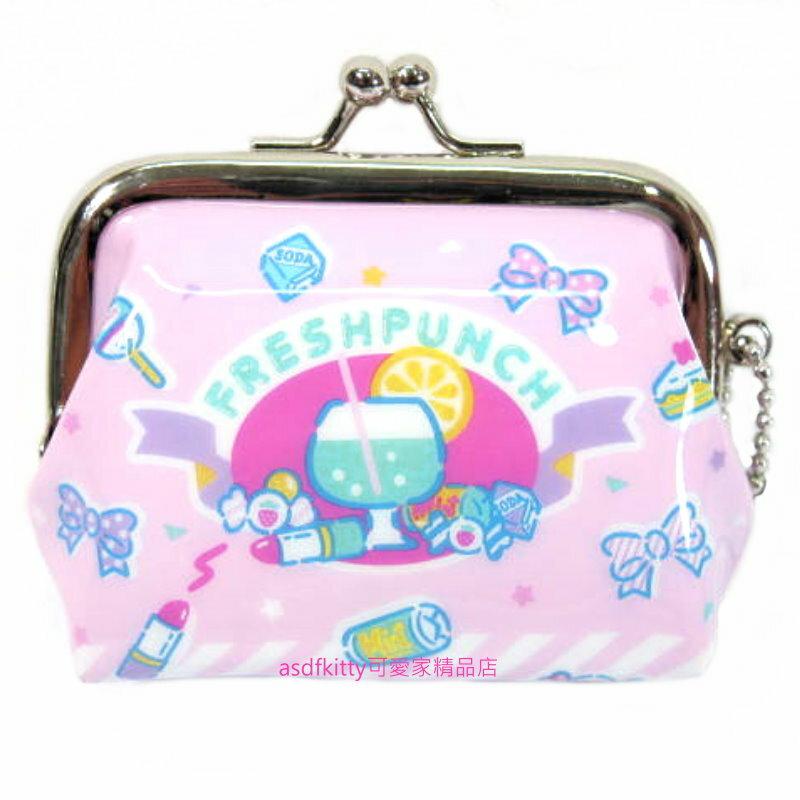 asdfkitty可愛家☆三麗鷗 SANRIO 粉色雙珠扣零錢包-防水 -可當印章袋-附吊飾錬-