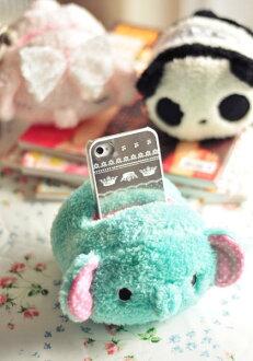 =優生活=憂傷馬戲團薄荷象手機座粉小象毛絨熊貓遥控器座卡通手機座 收納筒