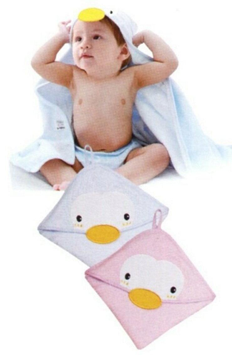 【免運】造型連帽紗布浴巾75*75cm(水/粉)