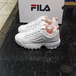 FILA 鋸齒鞋 厚底鞋 老爹鞋 增高鞋 復古鞋 韓版 韓國 限定 白色 粉色 粉紅色 白粉 白色鞋盒 DISRUPTOR 2