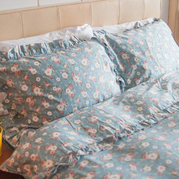 枕頭套一入-  小春日和-花滾邊  100%精梳純棉  SGS檢驗通過  45x75cm