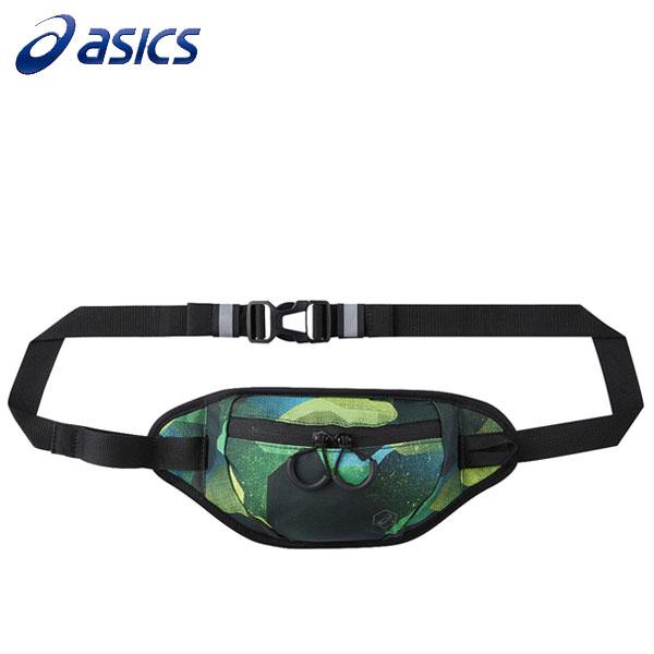 【ASICS亞瑟士】印花腰包慢跑腰包運動包潮包-EBM518-1176黑綠[陽光樂活]