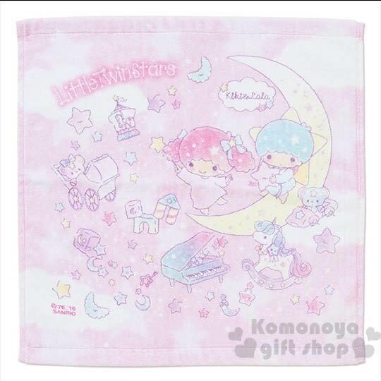 〔小禮堂〕雙子星 方形毛巾《粉.月亮.鋼琴.星星.34x35cm》夢幻系列