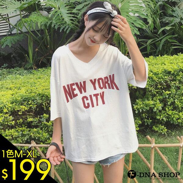 F-DNA★寬鬆V領NEWYORKCITY短袖上衣T恤(M-XL)【ETD2250】