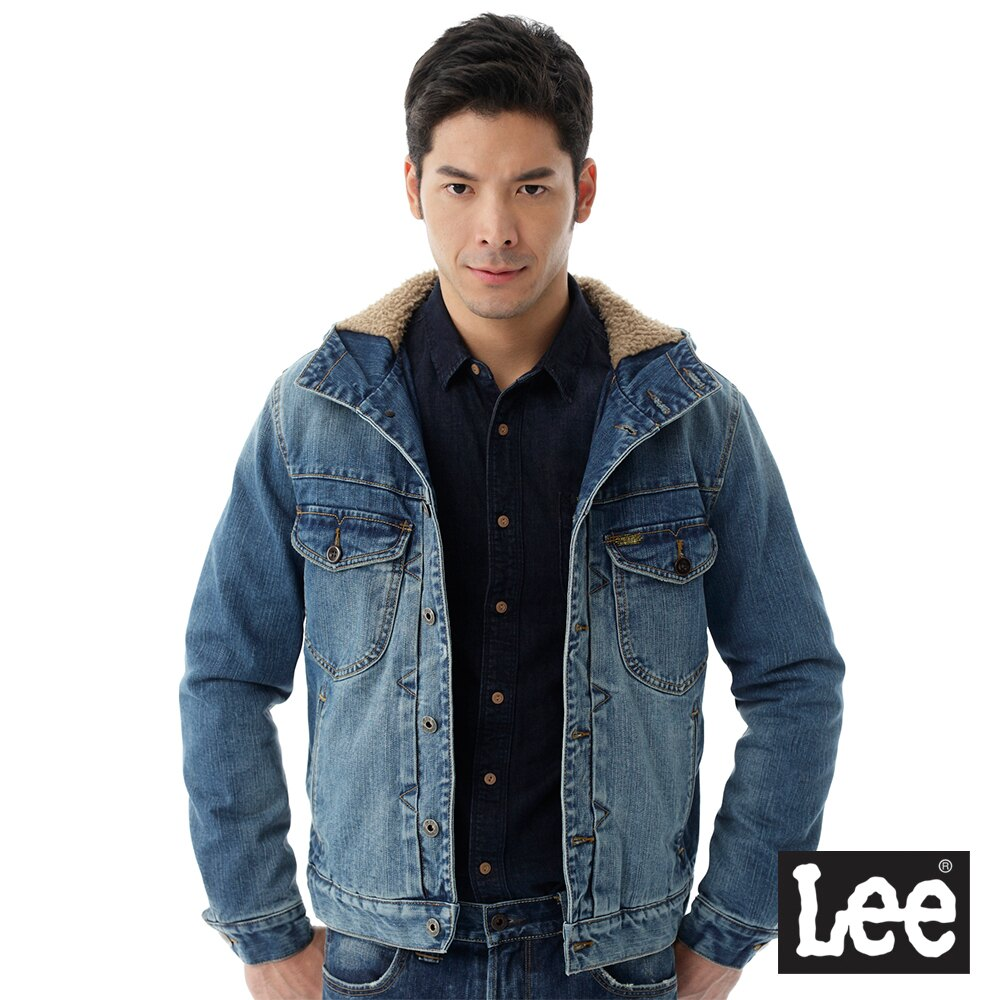 Lee 連帽牛仔外套 / 101+-男款-藍色 0