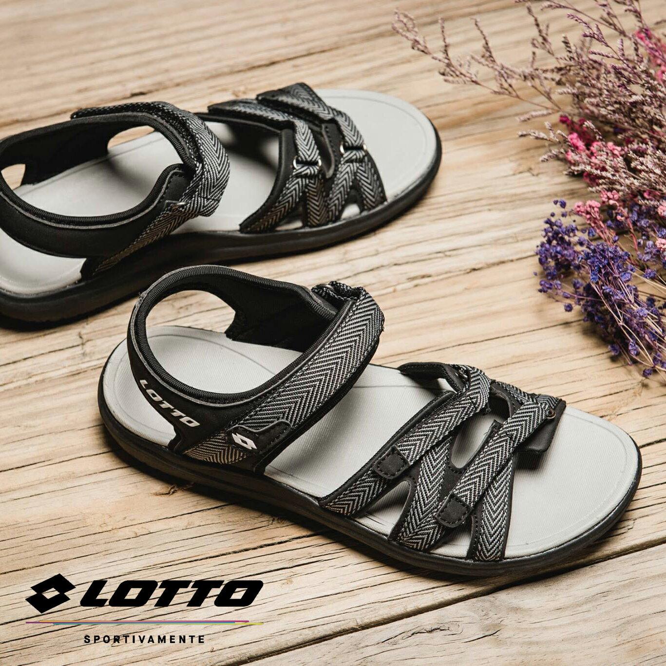 【巷子屋】義大利第一品牌-LOTTO樂得 女款人字紋織帶輕涼鞋 [6170] 黑 超值價$750