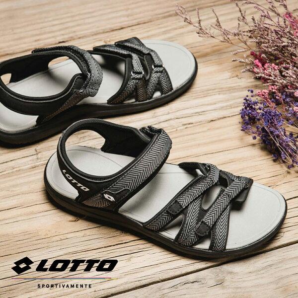 【巷子屋】義大利第一品牌-LOTTO樂得女款人字紋織帶輕涼鞋[6170]黑超值價$750