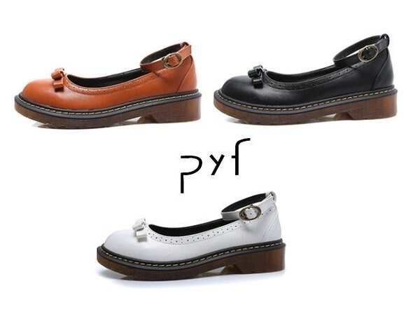 Pyf♥英倫學院風復古雕花繞踝馬丁款圓頭娃娃鞋43大尺碼女鞋