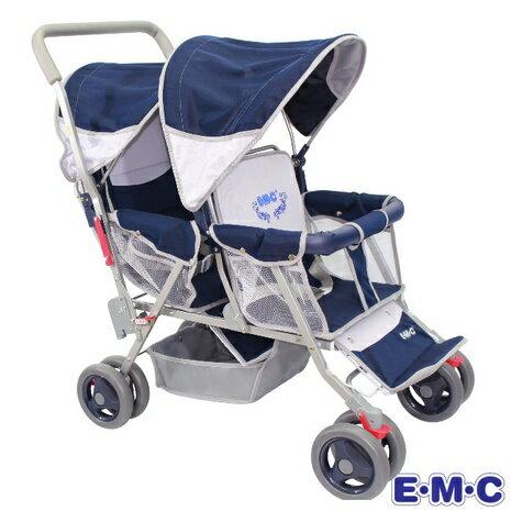 EMC雙人雙帆推車(灰藍)【德芳保健藥妝】