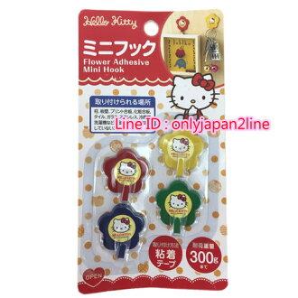 【真愛日本】16100700023小花4入鐵掛勾-KT  三麗鷗 Hello Kitty 凱蒂貓 掛勾 鉤子 居家收納 日本帶回
