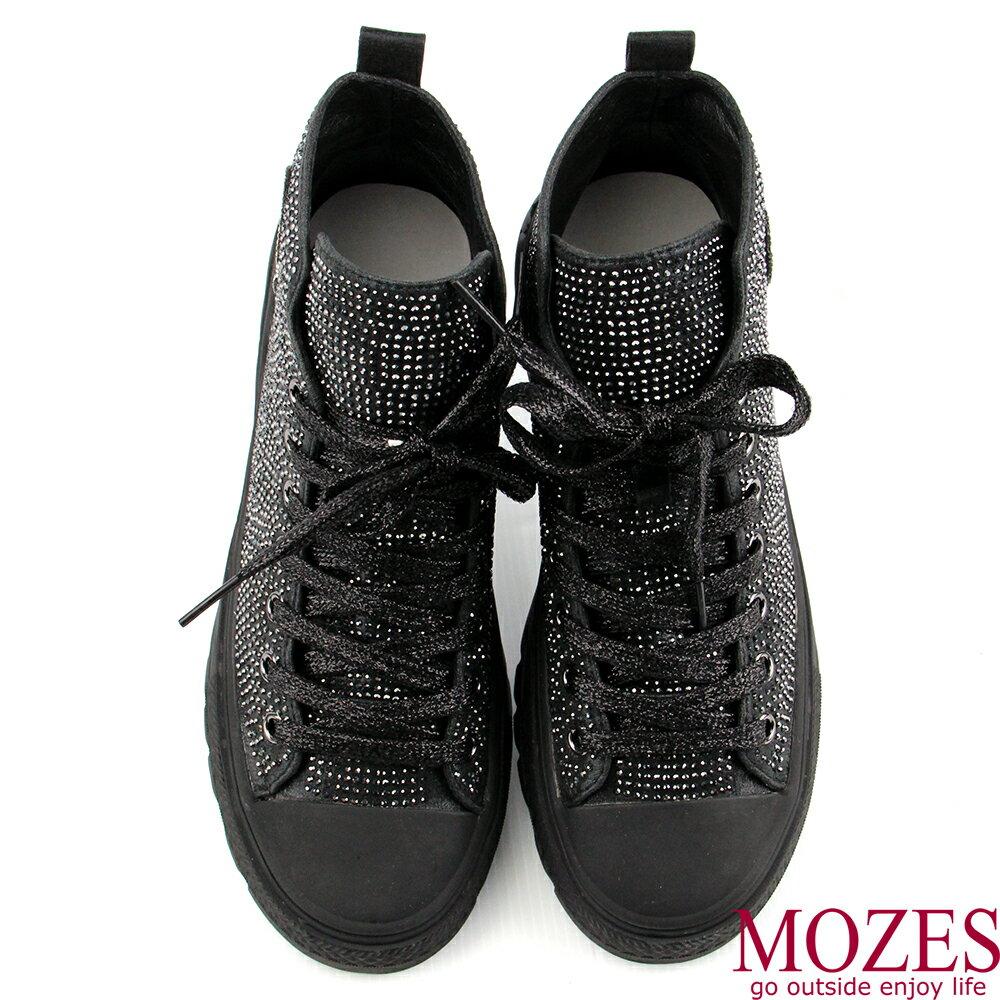 【MOZES】率性綁帶水鑽中跟氣墊中筒靴 5