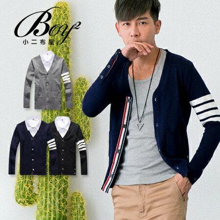 ☆BOY-2☆【PPK88041】英倫風V領條紋袖針織毛衣外套 0
