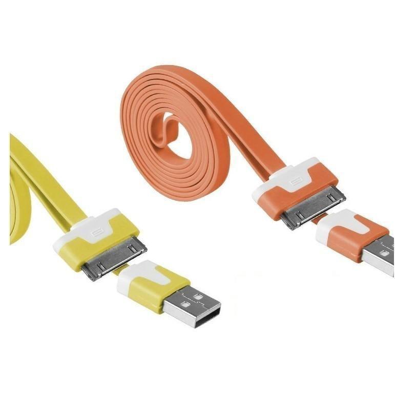 彩色蘋果手機iphone4數據線4s充電線USB小麵條扁線2米線.3米線 蘋果 居家必備xxxXXXXXxboykimo