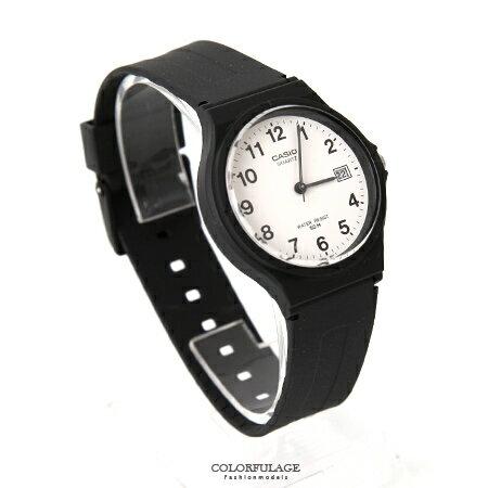 CASIO卡西歐經典基本款手錶 黑白配色中性款腕錶 升級日期窗設計 柒彩年代【NE1603】原廠公司貨