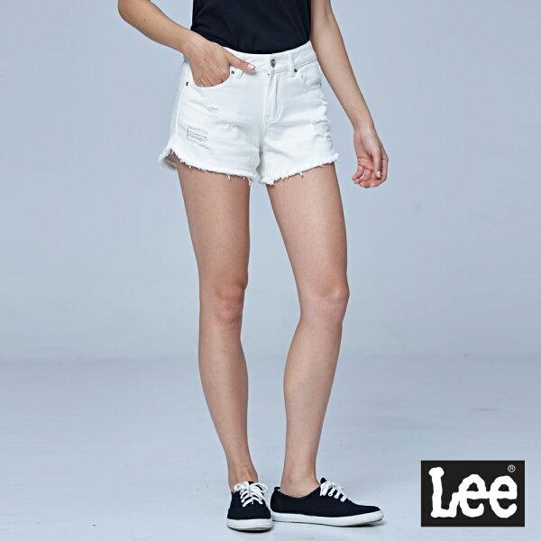 Lee倒V長腿牛仔短褲-白色-女短褲-LL18