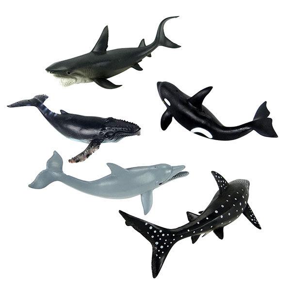 【888便利購】5入海洋鯨豚鯊魚模型(中型)(軟材質)(安全塑料)(HY8006)