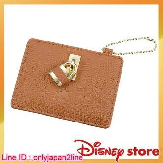 【真愛日本】皮革卡片夾-心之鎖米妮駝  迪士尼 米老鼠米奇 米妮  托特包 手提包