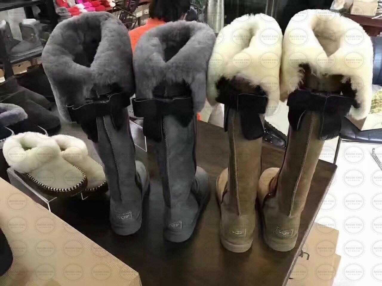 OUTLET正品代購 澳洲 UGG 千頌伊同款過膝羊皮毛雪靴 保暖 真皮羊皮毛 雪靴 短靴 灰色 4