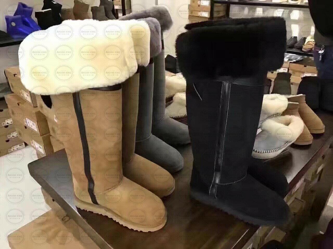OUTLET正品代購 澳洲 UGG 千頌伊同款過膝羊皮毛雪靴 保暖 真皮羊皮毛 雪靴 短靴 灰色 3