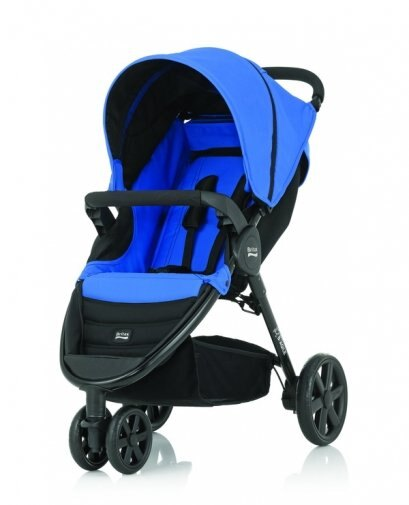 Britax - B-Agile單手收豪華三輪手推車 藍 (附前扶手) 加購Britax - Baby-Safe提籃汽座特價優惠!