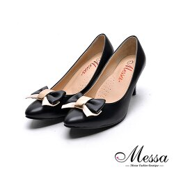 【Messa米莎專櫃女鞋】MIT蝴蝶綁帶女孩內真皮高跟鞋-黑色