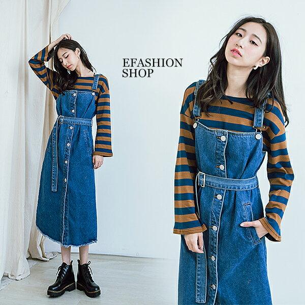 排釦牛仔吊帶裙-eFashion預【J18361001】