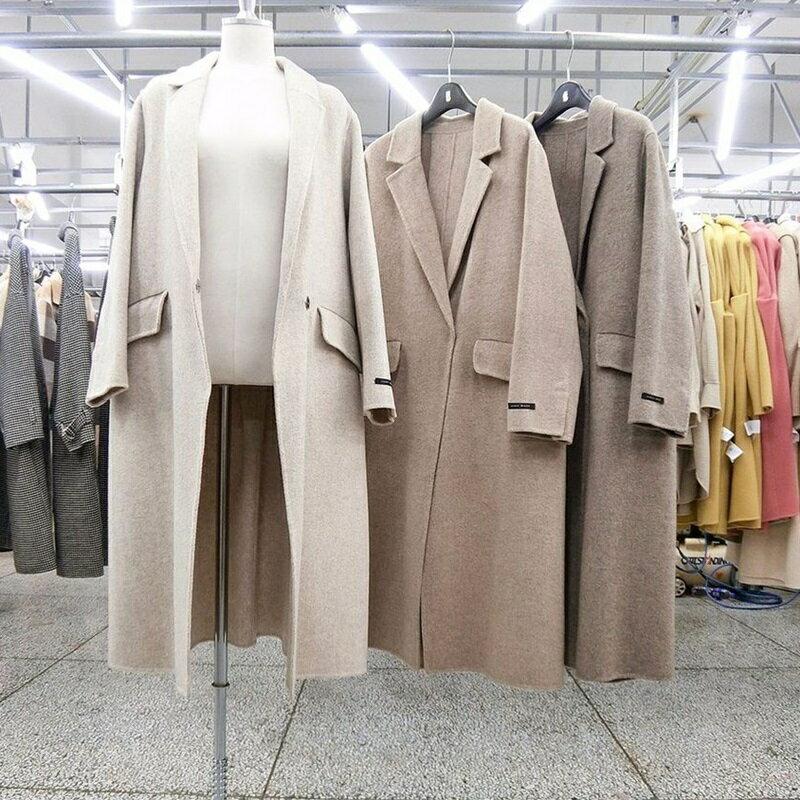 毛呢大衣羊毛外套-長版寬鬆簡約純色女外套3色73wb26【獨家進口】【米蘭精品】 1