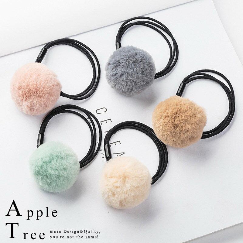 AT日韓-可愛毛毛單球彈力髮圈6色【712026】
