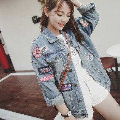 美琪(春夏款)韓版한국어버전潮貼布徽章大碼衣原宿BF風牛仔外套寬鬆中長款