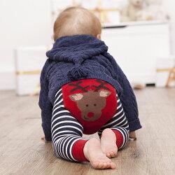 【hella 媽咪寶貝】英國 JoJo Maman BeBe 圖案嬰幼兒內搭褲/保暖襪_紅色麋鹿(JJP009)