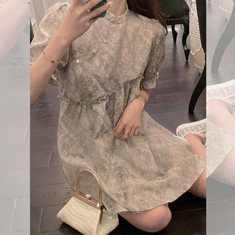 雪紡洋裝 小個子法式復古茶歇設計感雪紡裙子漢服改良版短袖連身裙女裝夏季 果果輕時尚