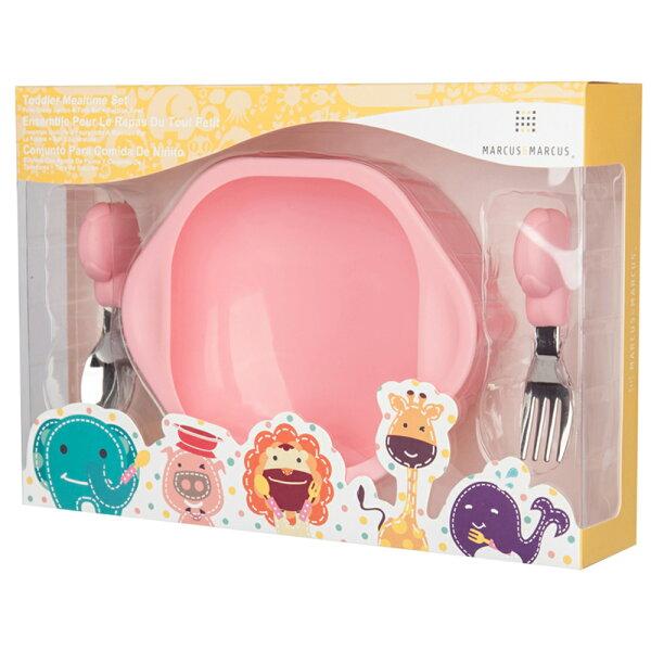 【麗嬰房】加拿大MARCUS&MARCUS動物樂園寶寶握握學習叉匙組-粉紅豬