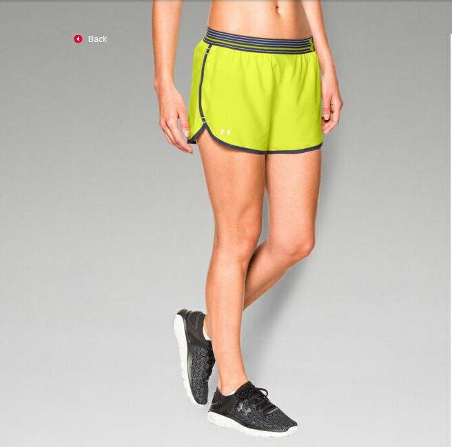 《UA出清5折》Shoestw【1253858-738】UNDER ARMOUR UA服飾 慢跑短褲 運動褲 螢光黃深藍 女生