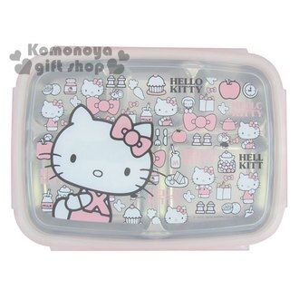 〔小禮堂〕Hello Kitty 不鏽鋼餐盤式便當盒《粉.食物.朋友.字母.多動作.滿版》