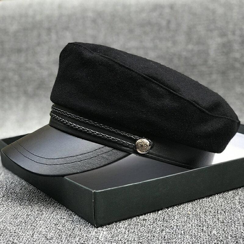 學院風細膩毛呢海軍帽皮沿八角帽女韓版出游度假凹造型氣質百搭帽1入