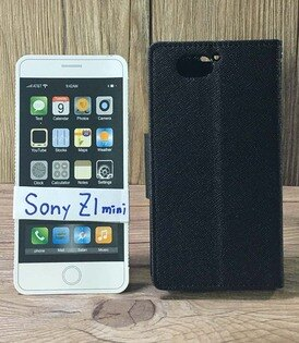 福利品側翻皮套SonyXperiaZ1miniCompactD5503撞色皮套可立式插卡保護套手機套