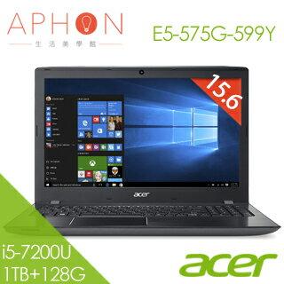 【Aphon生活美學館】ACER E5-575G-599Y 15.6吋 Win10 2G獨顯 筆電(i5-7200U/4G/1T+128G SSD)-送acer無線鼠+雙人牌指甲剪