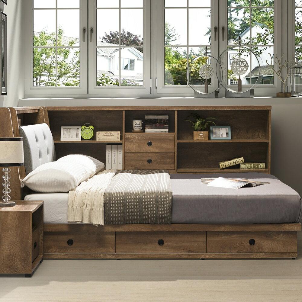 【日本直人木業】OAK 橡木3.5尺單人加大收納床組加床邊側櫃(床頭貓抓皮/床底3抽)