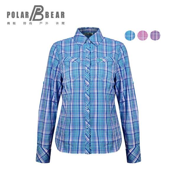 【POLARBEAR】女彈性抗UV格子長袖襯衫
